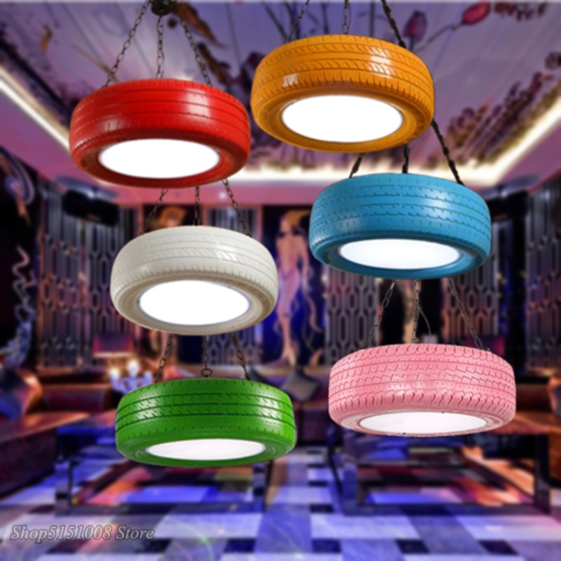 Industrial Led Pendant Lights Rubber Tire Lamp Retro Iluminaria loft Pendant Lamp Bar Clothing Shop Kitchen Circle Light Fixture