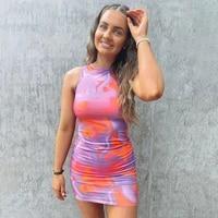 summer dress 2021 sexy tie dye print sleeveless mini dress for women outdoor vacation travel dress woman