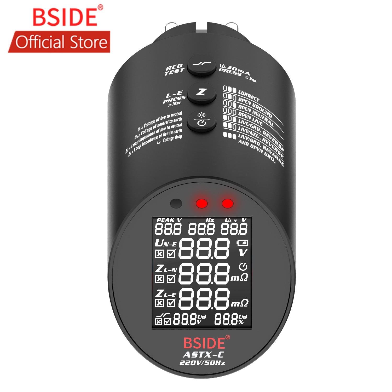 BSIDE ASTX الدائرة محلل T-RMS اختبار الأسلاك المهنية تلقائيا تحقق حالة الأسلاك المقبس RCD/GFCI تستر
