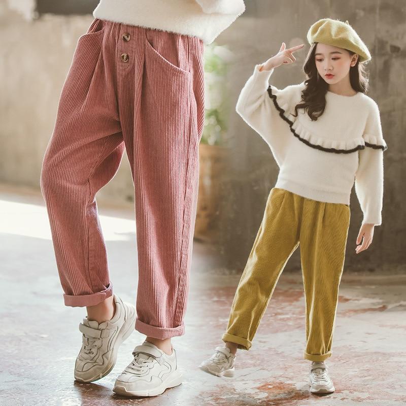 Pantalones deportivos para niñas, pantalones informales para niñas, ropa de invierno para adolescentes, pantalones largos de pana de otoño e invierno