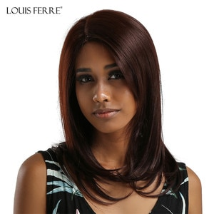 LOUIS FERRE Cosplay Straight Brown Honey Red Wig Natural Synthetic Lace Part Wig for Black Women Heat Resistant Wig Side Parted