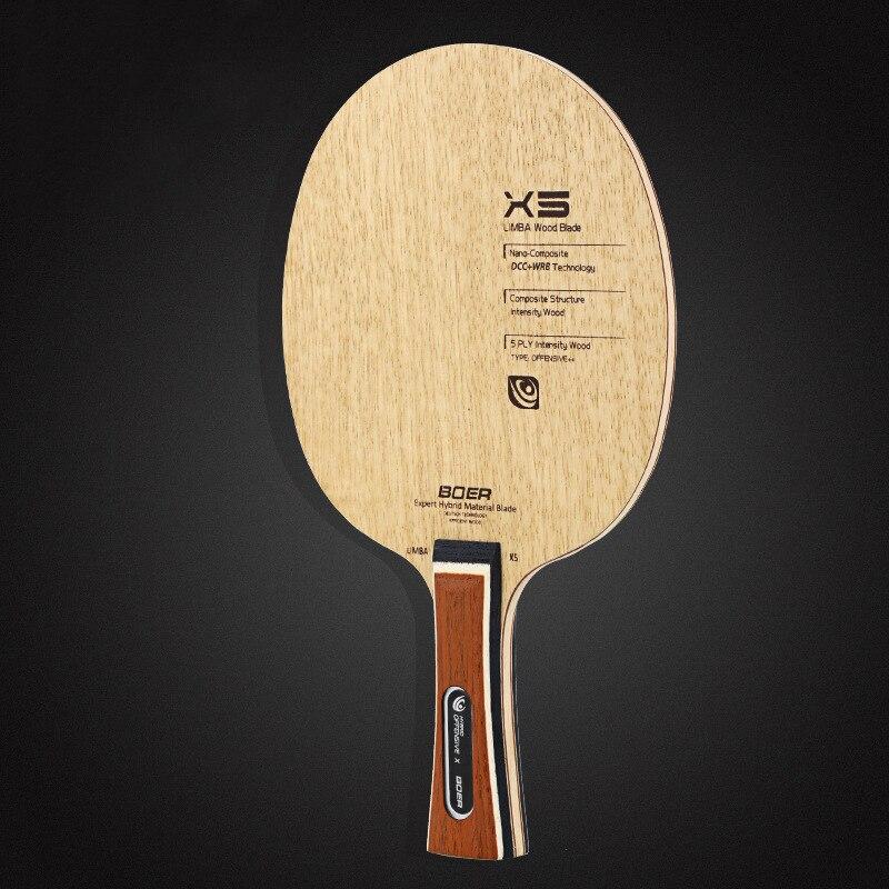 Boer 1 pc x5 raquete de tênis de mesa shakehand/penhold ping pong bat raquete 5 camadas de madeira composta camadas