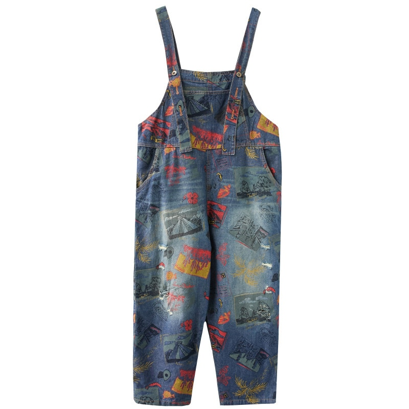 Women's Denim Jumpsuit Spring And Autumn Fashion Print Graffiti Loose Large Size Wide Leg Jumpsuit Casual Overalls Strap Jeans