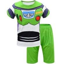 Été enfants Buzz Lightyear costume à manches courtes pantalons de plage garçons deux pièces ensemble jouet 4 halloween cosplay Pyjamas ensemble de vêtements