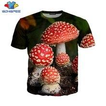 SONSPEE 버섯 T 셔츠 패션 남성 여성 운동복 3D 인쇄 짧은 소매 힙합 Streetwear 남여 탑스 O 넥 풀오버 C046