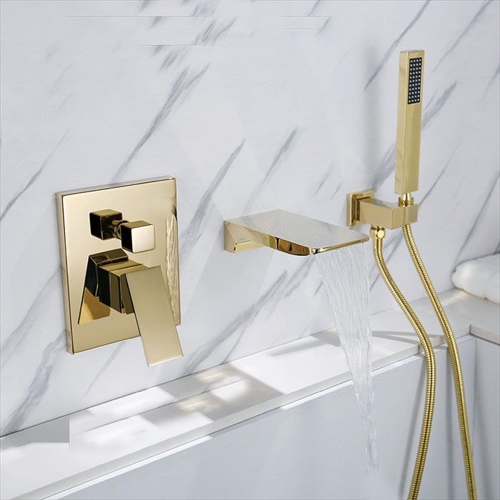 الذهب مربع صنبور صنبور حوض استحمام الحائط حوض للحمام خلاط دش يدوي رئيس حمام و دش صنبور BF909