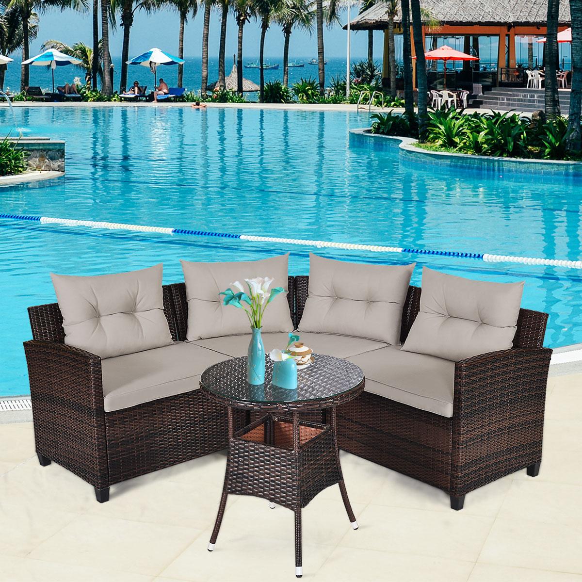 Patiojoy 4PCS Furniture Set Outdoor Patio Rattan Cushioned Sofa Table HW66920