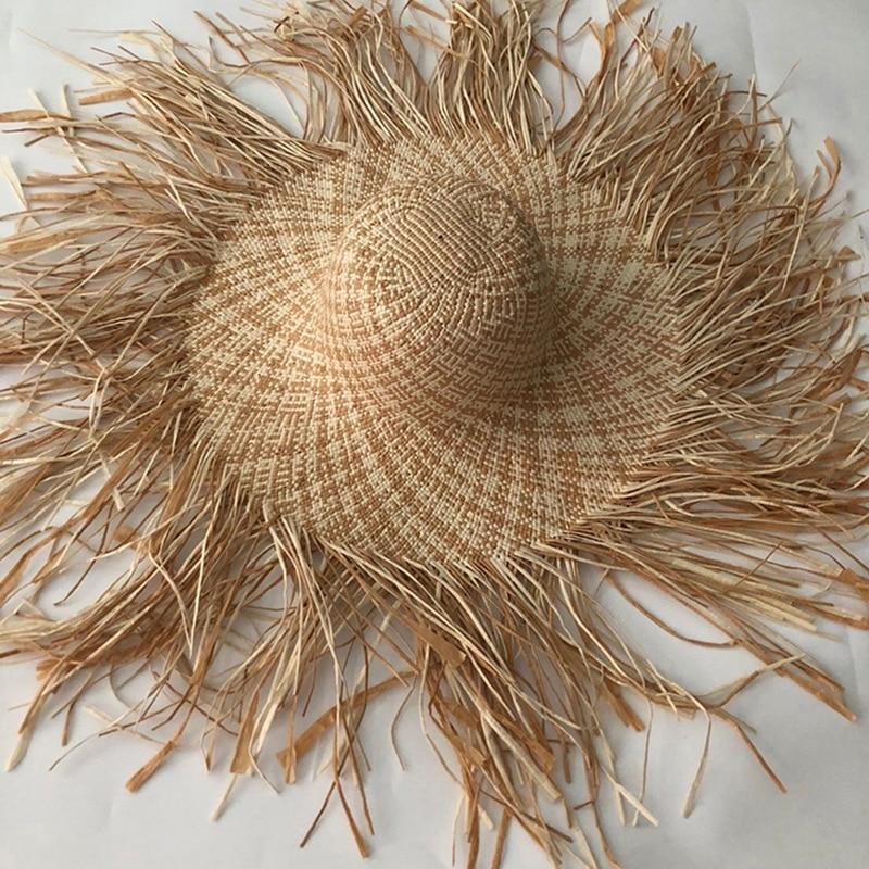 LVTZJ New Handmade Women Straw Sun Hat Large Wide Brim Gilrs High Quality Natural Raffia Panama Beach Straw Sun Caps For Holiday