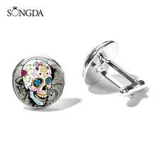 Boutons de manchette crâne Art mexicain Photo verre Cabochon cuivre bouton de manchette jour des morts Festival Hyperbole Style
