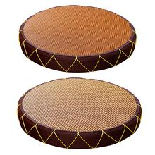 NUOVO Paglia Pavimento Cuscino Stile Giapponese Handcratfed Rotondo di Vimini Zerbino Yoga Piatto Cuscino per La Meditazione Cuscino Pouf