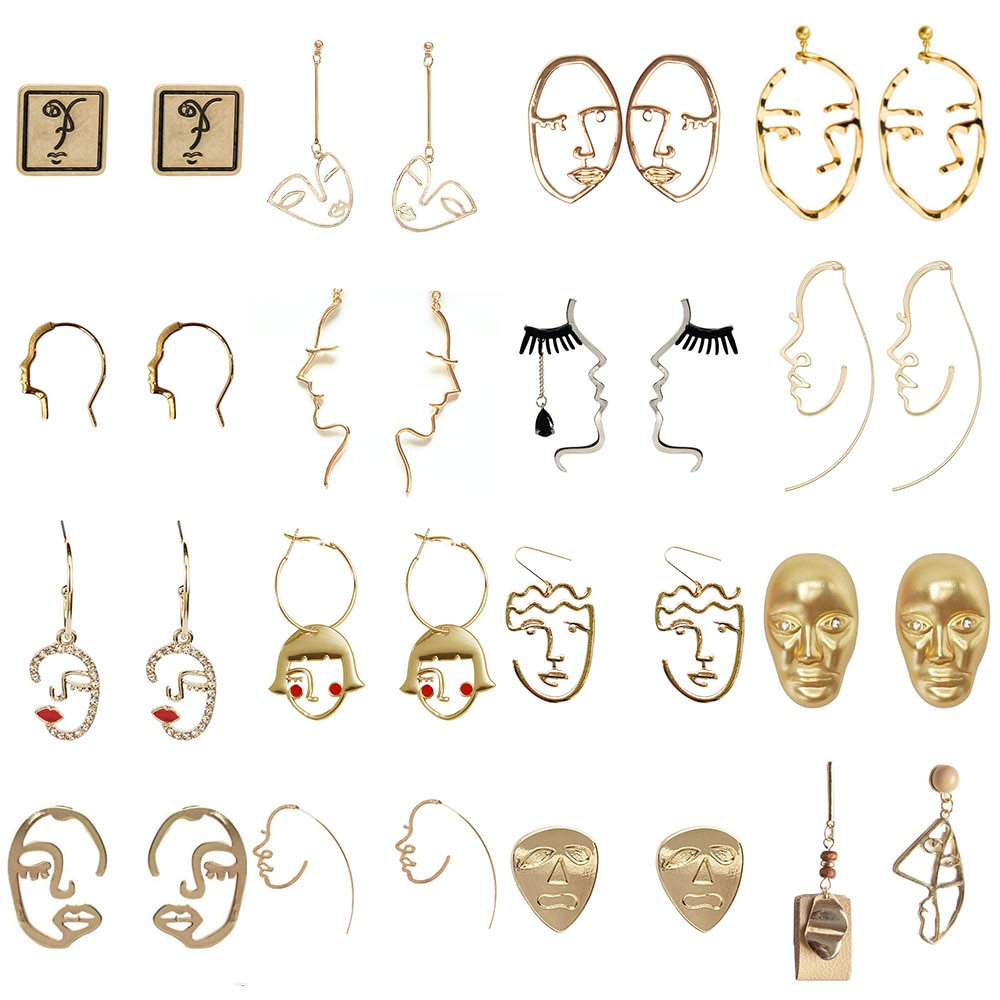 Nouveau Punk abstrait boucles doreilles goutte pour les femmes rétro visage évider grande déclaration Figture pendentif boucles doreilles bijoux cadeaux