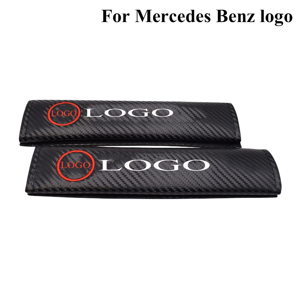 For Mercedes Benz Logo Auto Seatbelt Shoulder Protective Strap Pad Carbon Fiber Safety Belt Cover Seat Belt Pad Car Accessories