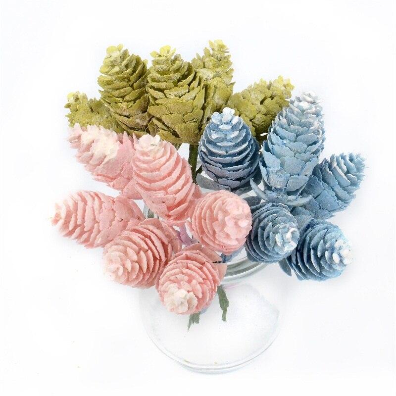 120 Uds. De plástico de piña Artificial flor hierba Artificial de pino nueces conos boda Navidad decoración DIY Scrapbooking Craft