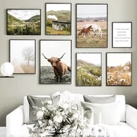 wall art canvas painting plateau cattle mountain horse train daisy nordic posters and prints wall pictures for living room decor