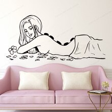spa massage Waterproof Wall Decals  naked woman wall Sticker spa salon removable wall art mural JH318
