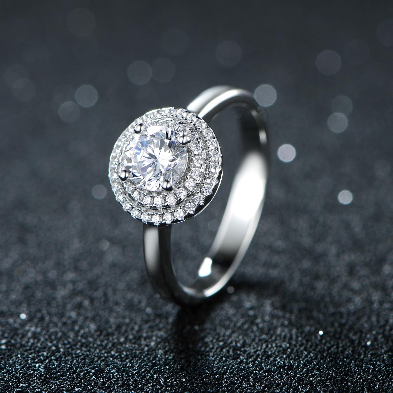 YKD40 925 sterling silber ring doppel kreis set mit zirkon ring