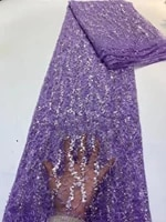 nice embroidery gauze fabrics sequins design french lace 5 yards high quality tulle laces african asoebi dress diy tulle laces