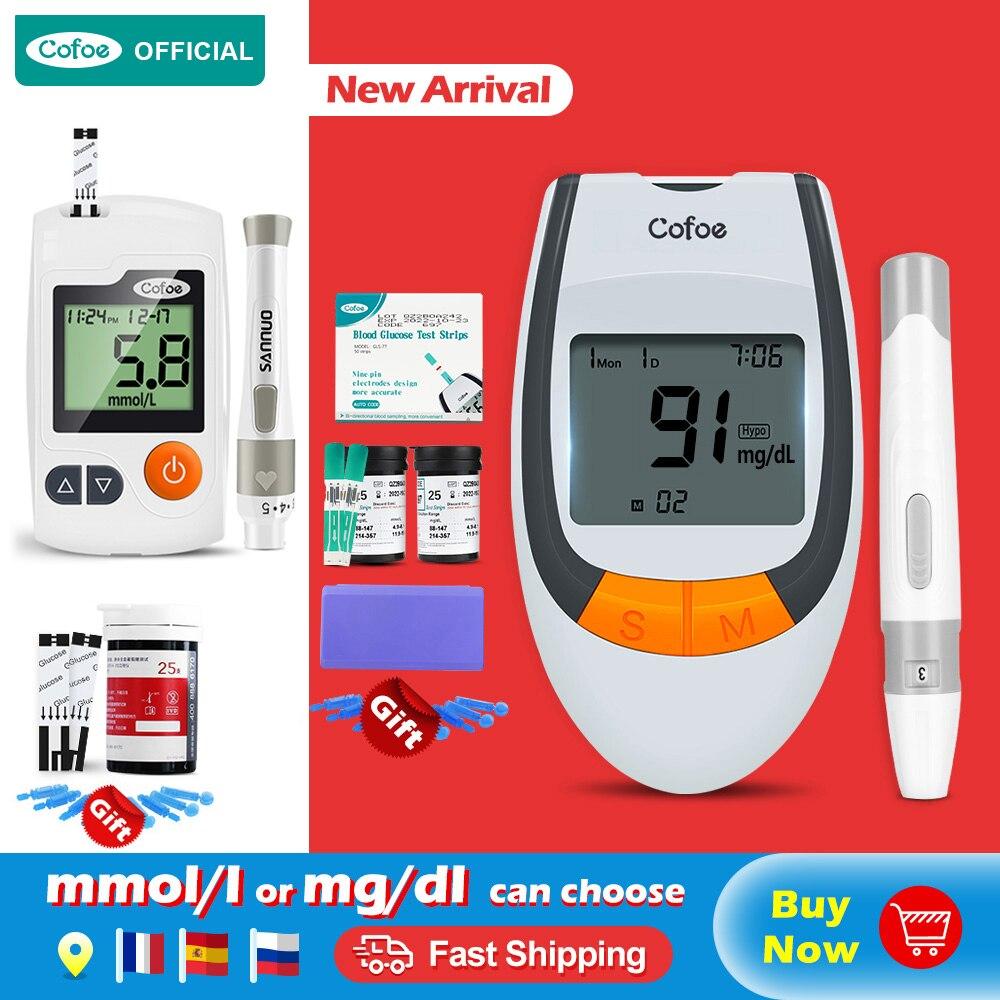 Cofoe 50/100 pces seguro-preciso medidor de glicose no sangue & tiras de teste & lancets diabetes glucometer monitor de açúcar no sangue para diabético