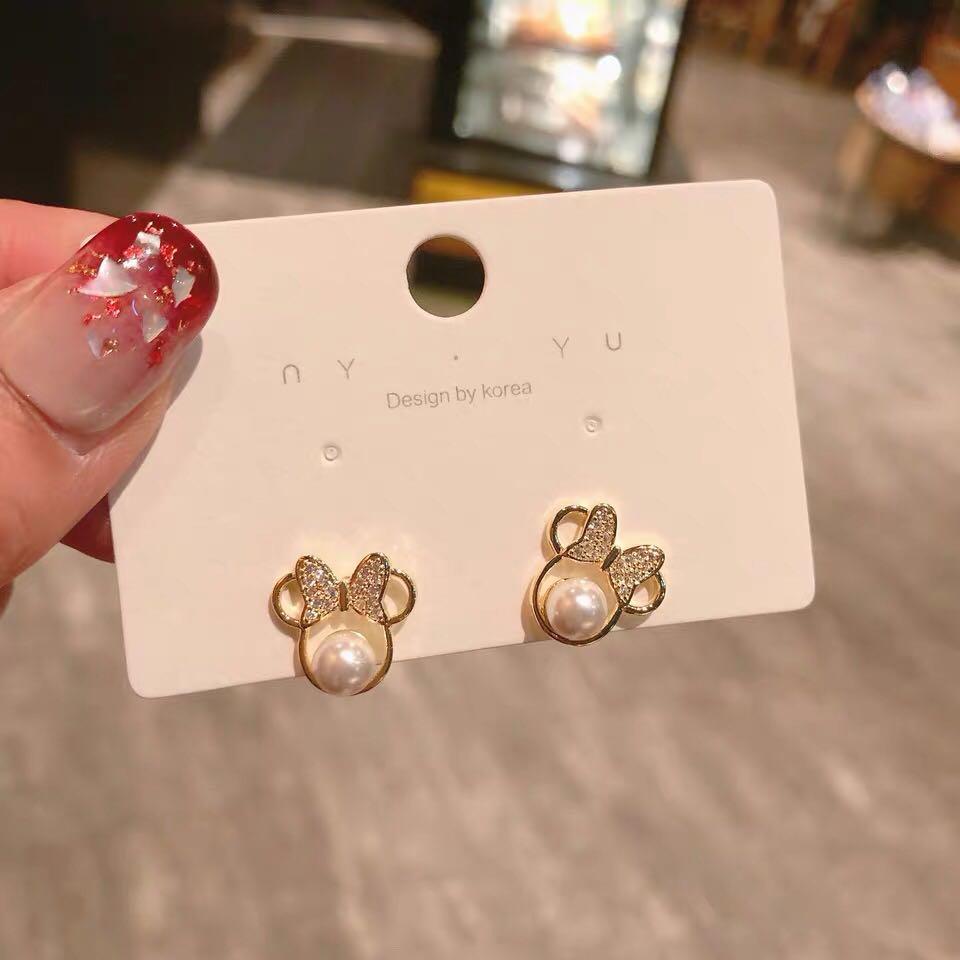 Anting-anting kristal mutiara kristal untuk wanita busur sederhana - Perhiasan fesyen - Foto 3