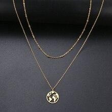 CACANA serce/mapa świata/kij/gwiazda/krzyż Choker naszyjnik dla kobiet wielowarstwowe koraliki Chocker złoty kolor biżuteria ze stali nierdzewnej