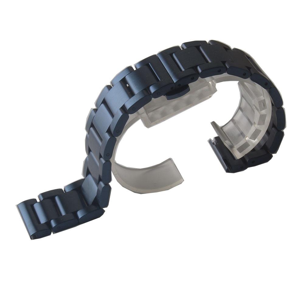 Inoxidável Relógio Pulseira Acessórios 18 20 22 24mm Azul Escuro Fosco Unpolished Metal Pulseiras Cinta Dobra Implantação Fecho Aço