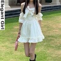women bow ruffle sweet cute dress white kawaii fairy strap patchwork off shoulder sexy party mini dresses princess sundress 2021