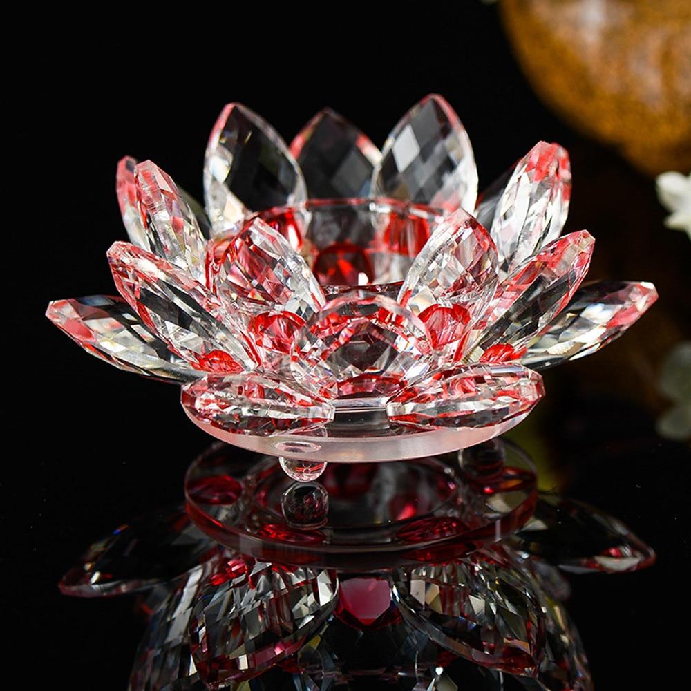 Хрустальный Лотос подсвечник многоцветный стеклянный цветок подсвечник чайный светильник подсвечник буддийский Подсвечник