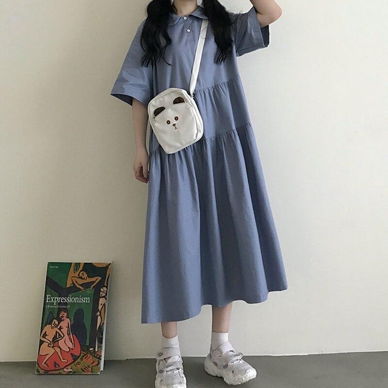 Vestido de manga corta estilo japonés para mujer, verano 2020, estilo universitario, cuello Polo Retro Mori, vestido de lolita con cuello de muñeca