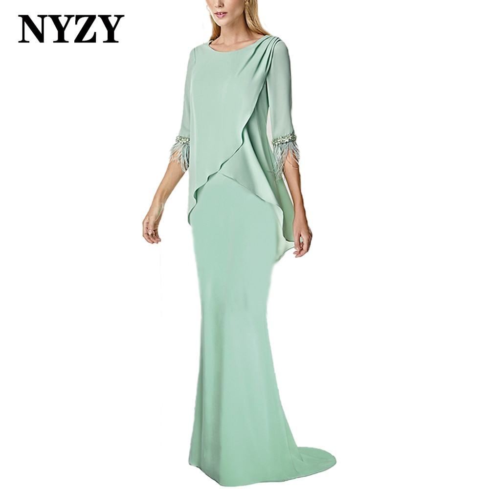 NYZY M346 elegante verde menta 3/4 mangas pluma sirena Madre de la novia vestidos 2021 boda fiesta Formal vestido de noche