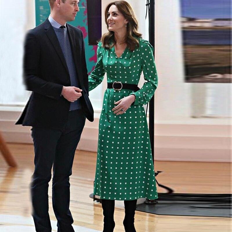 Kate Middleton موضة جديدة للمرأة ربيع الخريف عالية الجودة حفلة عادية خمر أنيقة شيك Gentlewoman الأخضر دوت ميدي فستان