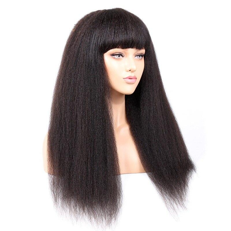 شعر مستعار برازيلي طبيعي بدون غراء ، شعر مجعد ناعم مع هامش ، فروة رأس حريرية ، شعر ياكي خشن ، مصنوع آليًا ، كثافة 180