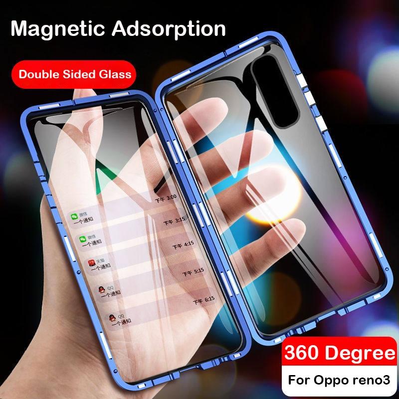 Magnetic Case For OPPO A92S A52 A72 coque A5 A9 2020 Reno 4 3 Pro Z3 Y9S R11 R17 X27 F11 Glass Cover Metal Bumper Realme 6 Case