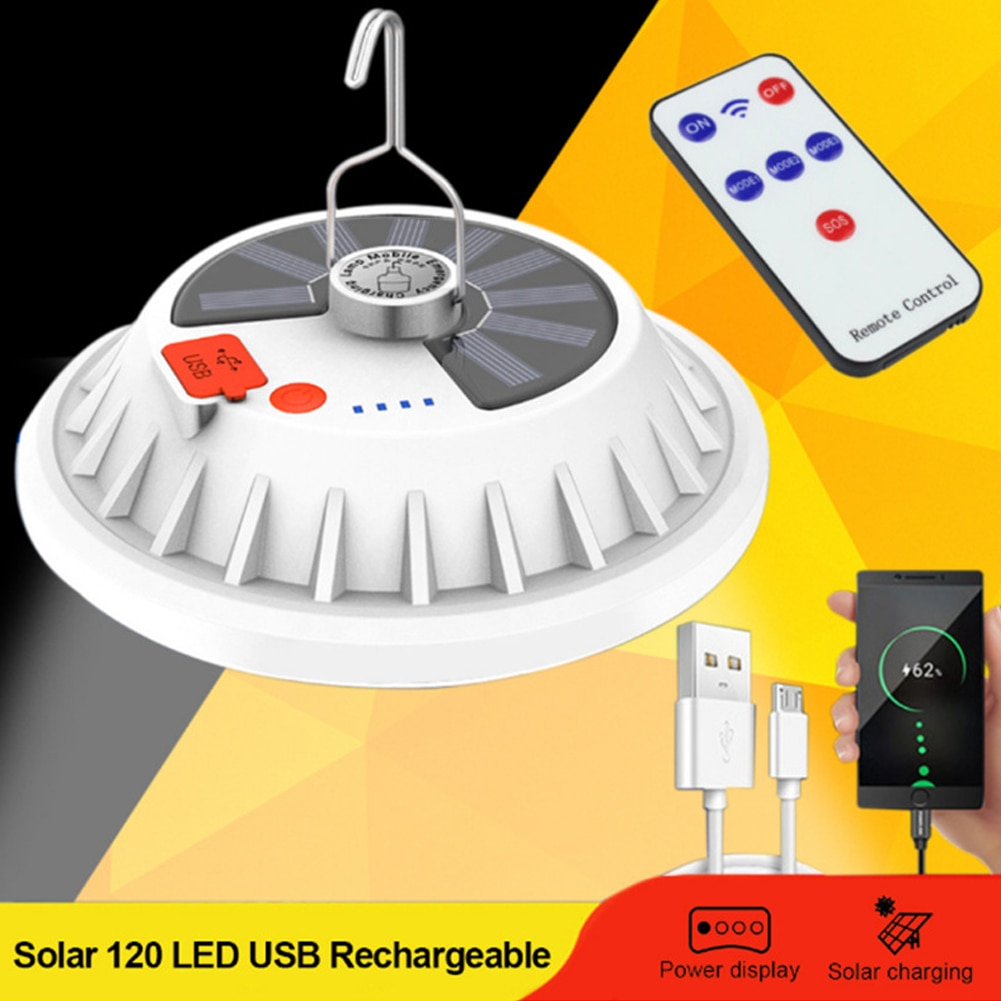 300w LED Camping Emergency Work Light  Rechargeable Solar Remote Control Led Camping Light for Hiking and Camping