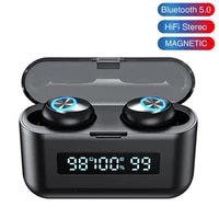 tws wireless bluetooth earphone stereo noise canceling headset led earbuds with charging case touch control sport headset