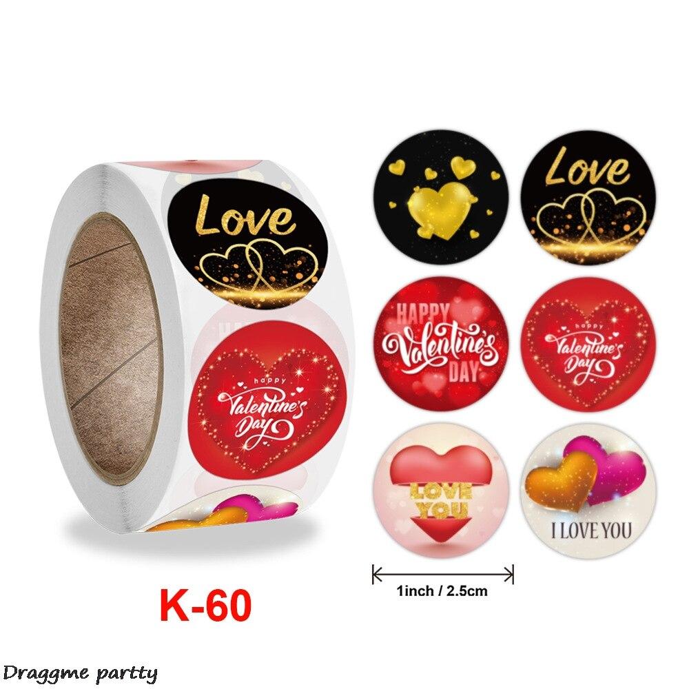 Круглый ко Дню Святого Валентина Стикеры «любящее сердце» в качестве подарка украшения Стикеры этикетка вечерние милые Стикеры этикетка