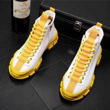 Мужские повседневные туфли, желтые и белые туфли с круглым носком на платформе, трендовые высокие туфли для отдыха, новинка 2021