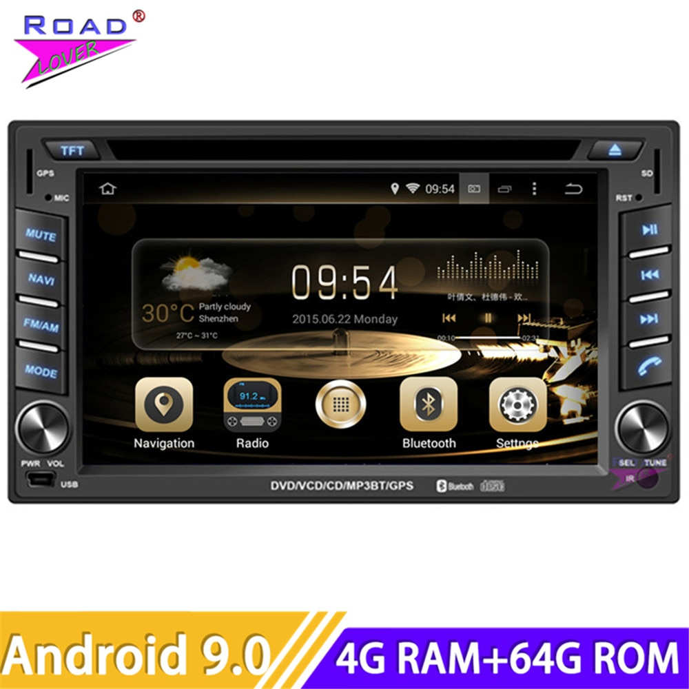 Roadlover Android 9.0 Multimídia Carro DVD Player de Rádio Para 6.2 Polegada Universal Stereo Navegação GPS Magnitol 2 Din 178 milímetros * 102 milímetros