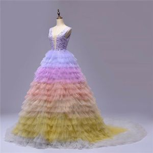 Colorful Tulle Long Prom Dress Appliques Lace Party Gown robes de soiree Sexy Deep V Neck A-line Evening Dresses Abendkleid