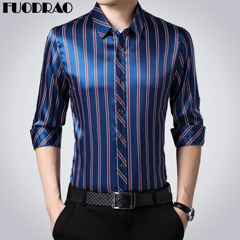 New 2020 Casual Shirts Men Fashion Striped Long Sleeve Dress Shirt Men Slim Fit Camisa Masculina Plus Size E021