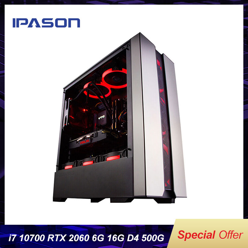 IPASON Explorer New Computer 10th Gen I7 10700 RTX2060 6G Upgrade RTX3060T 8G 500G Nvme SSD 16G RAM High End Gaming Desktop PC