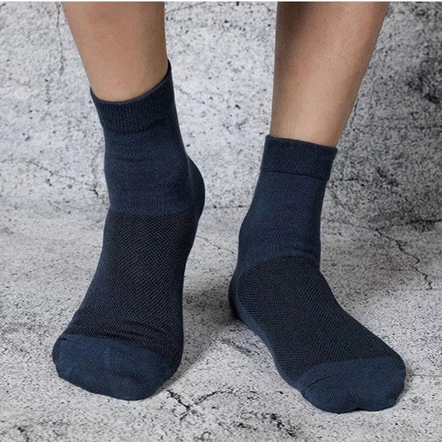 5 Pairs Lot Spring Summer Men's Cotton Socks Soft Breathable Dress Shoes Clothes For Man Compression Crew Socks Size 36-43 2