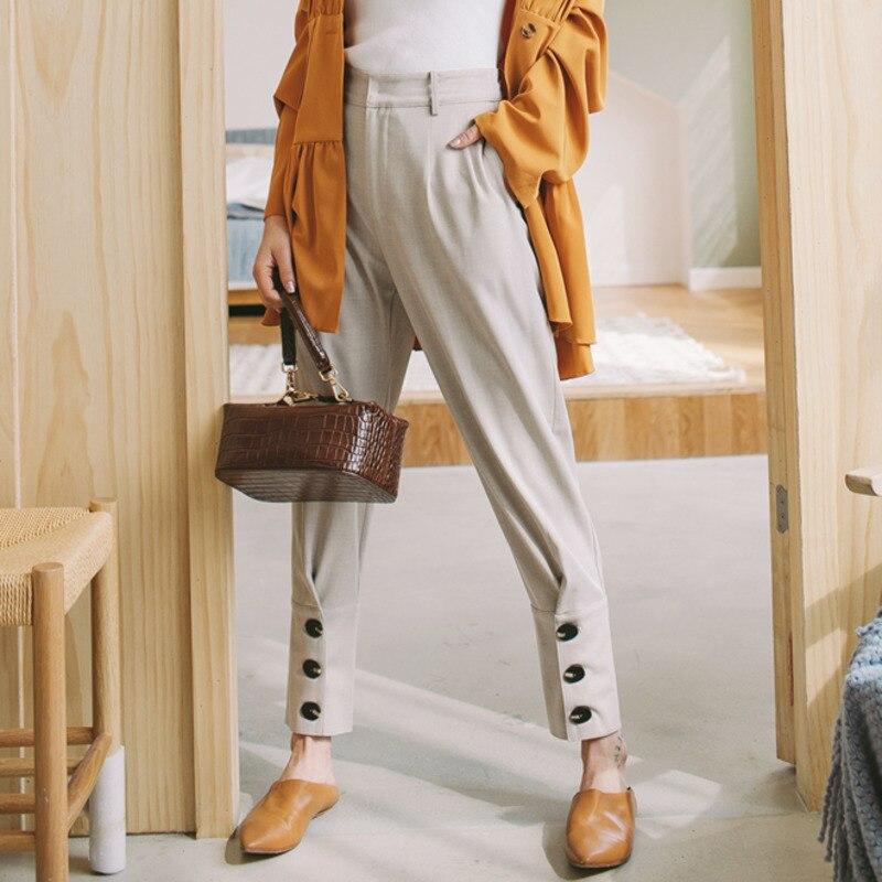 Lanmrem 2020 nova primavera moda feminina alta cintura harem calças vintage solto casual temperamento maré pc934