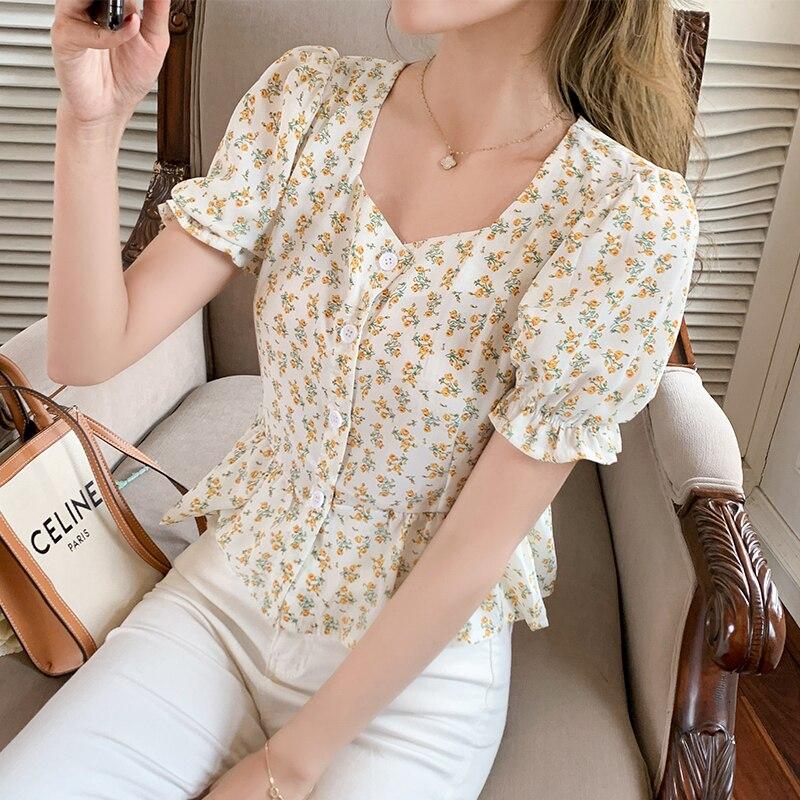 women floral chiffon shirt female blouses 1196#