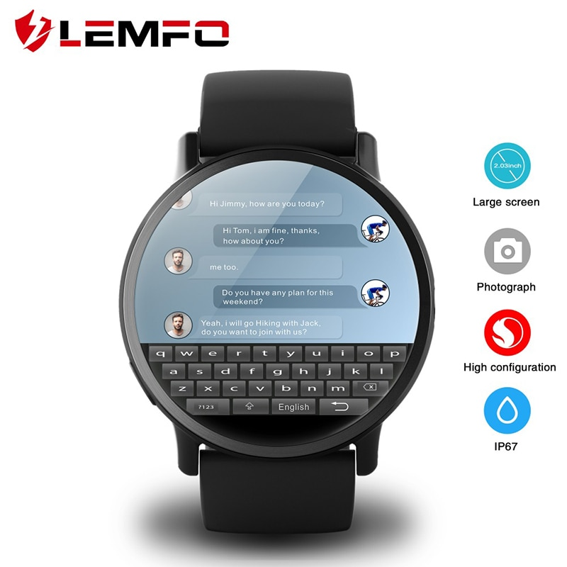 LEMFO LEM X 4G Smart Watch Android 7.1 With 8MP Camera GPS 2.03 inch Screen 900Mah Battery Sport Business Strap For Men