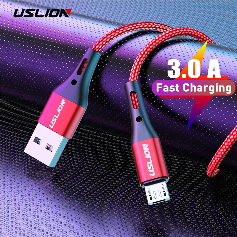 USLION 3A Fast Charging Micro USB Cable For Xiaomi Redmi Note 5 Pro Android Phone Change For Samsung S7 Micro Charger Data Cable недорого