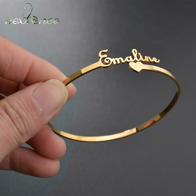 Nextvance Customized Nameplate Name Bracelet Personalized Custom Cuff Bangles Women Men Rose Gold St