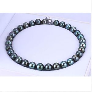 stunning round 10-11mm black green pearl necklace 18inch 925s