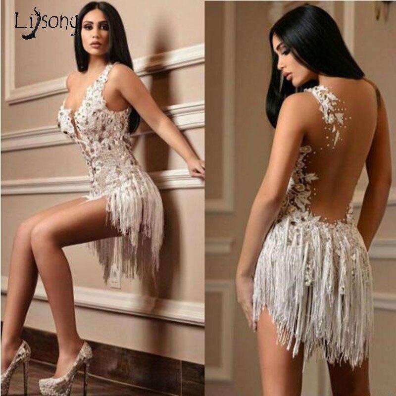 Barato blanco corto vestidos de fiesta elegante Apliques de encaje de cristal borla Mini vestido de fiesta de cóctel Formal vestido de noche sin espalda