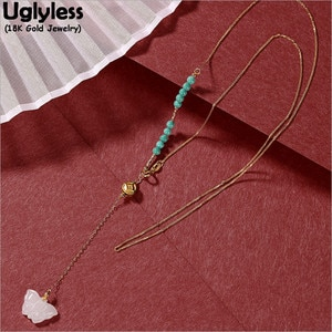 Uglyless Sexy Long Tassel Evening Dress Necklaces for Women Genuine 18K Gold Necklaces Natural Turquoise Butterfly Pendant AU750