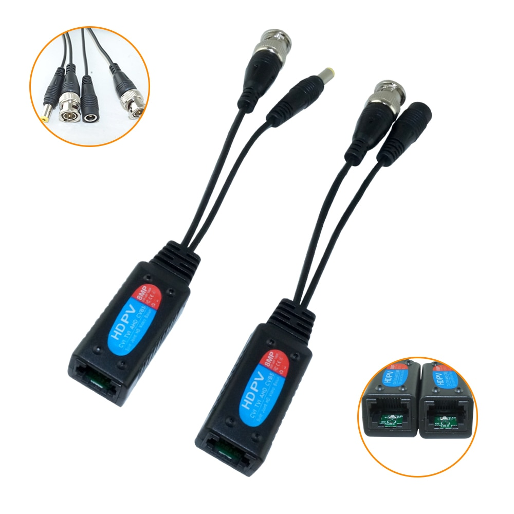 5Pairs Video Balun BNC to RJ45 Passive CCTV Coax BNC Power 8MP Balum Transceiver Connectors enlarge